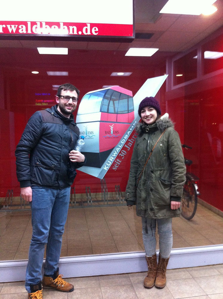 Me and Greg posing in front of the Kurwuldbahn sign
