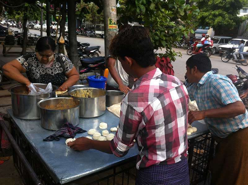 Chapatti stall in Mandalay