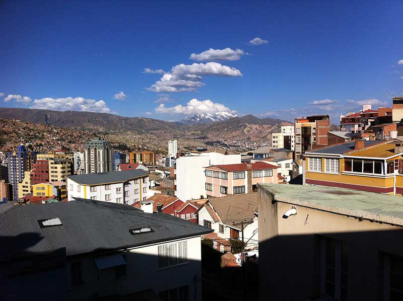 La Paz - The view from our room, complete with snow capped peaks