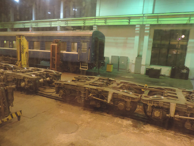 Inside the trainshed in Belarus