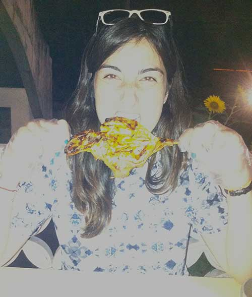 Katy chowing down on some Inasal. Whited out due to iPhone flash!