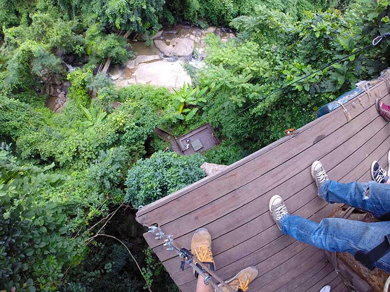 Looking down at the 40m abseil