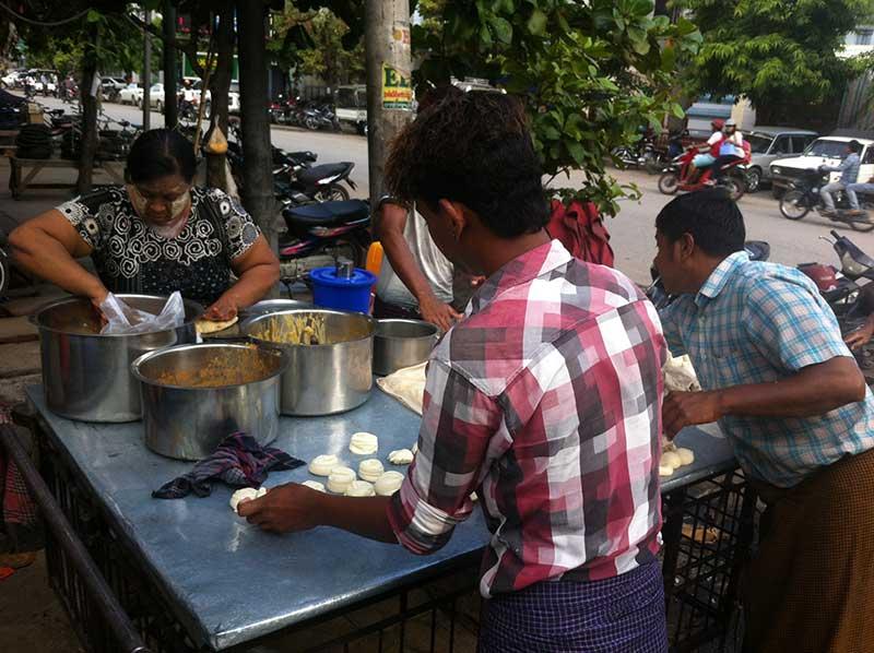 Chapatti stall in Mandalay