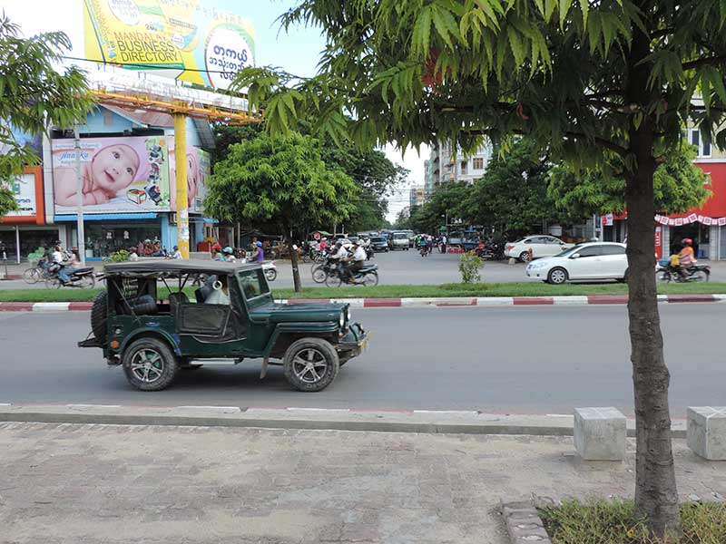 One of many jeeps in Mandalay, not sure why!