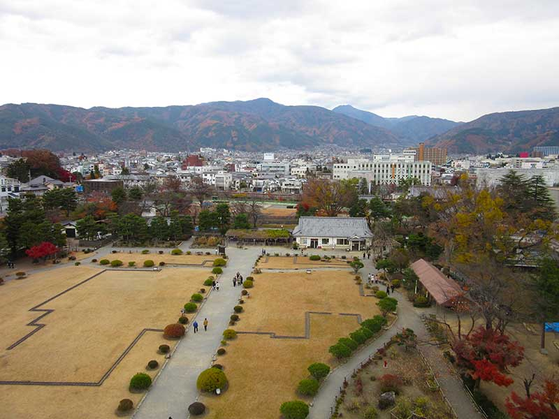 View of the grounds and Matsumoto city beyond