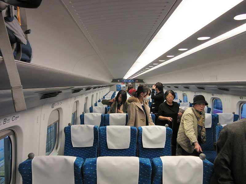 Terrible photo showing the interior of the Shinkansen