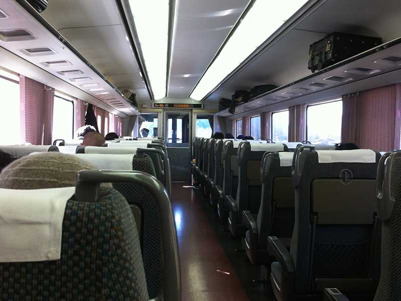 The interior of a non Shinkansen train